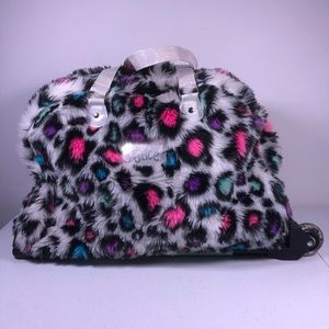 Justice Furry Zebra Colorful Rolling Duffle Bag